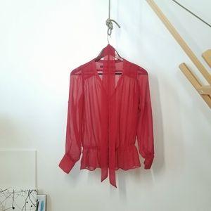 FREE w Purchase   Zara   See-through Blouse   Red